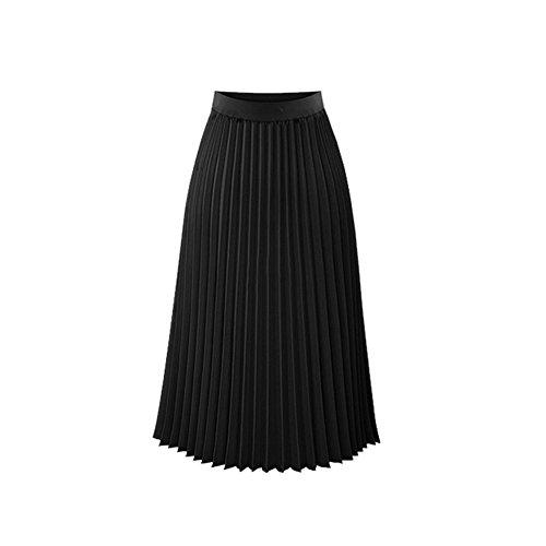 Oudan Jupe Plisse en Mousseline de Soie Femmes Une Ligne Jupe mi-Longue Plaine mi-Longue Noir