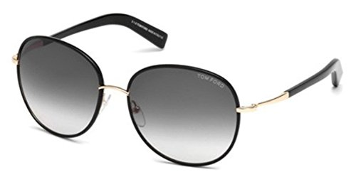 Tom Ford FT0498 01B Shiny Black Georgia Round Sunglasses Lens Category 2 Size - Sunglasses Round Ford Tom