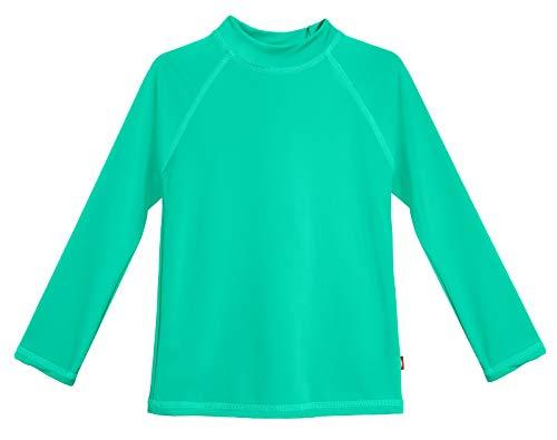 City Threads LS Girls' Rashguard Swimming Suit Swim Tshirt Tee UPF50+ Sun Protection for Beach Pool Summer Fun, Aqua, 4T