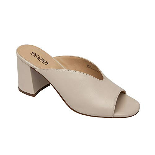 Pic & Pay GITA | Contoured Slip On Peep Toe Leather Slide Ivory Leather 8M ()