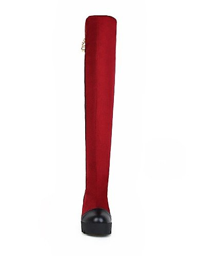 us5 Eu39 Vestido Vellón Semicuero Redonda Mujer Botas La Xzz Red Uk6 De Cn34 Marrón negro Zapatos us8 Casual Tacón Cuñas Brown A Eu35 Cuña Cn39 Punta Moda Uk3 67RSZ