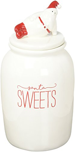 Mud Pie 4664002 Santa Sweets Christmas Ceramic Cookie Jar, White