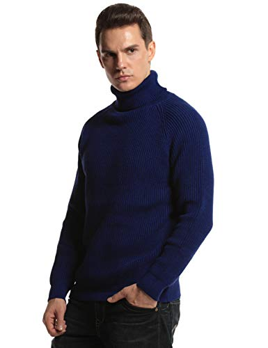 PrettyGuide Men's Turtleneck Sweater Long Sleeve Knitted Pullover Sweater Tops L Navy