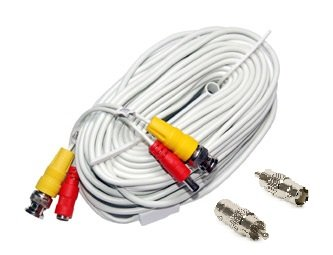 50 de color blanco cámara de seguridad Video Cable siamés CCTV BNC Power