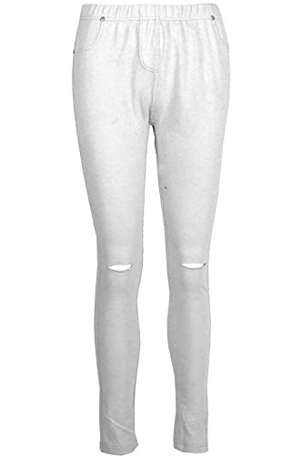 Fashion Star Womens Stretchy Denim Look Jeans Jegging Leggings Trousers Pants 002 White