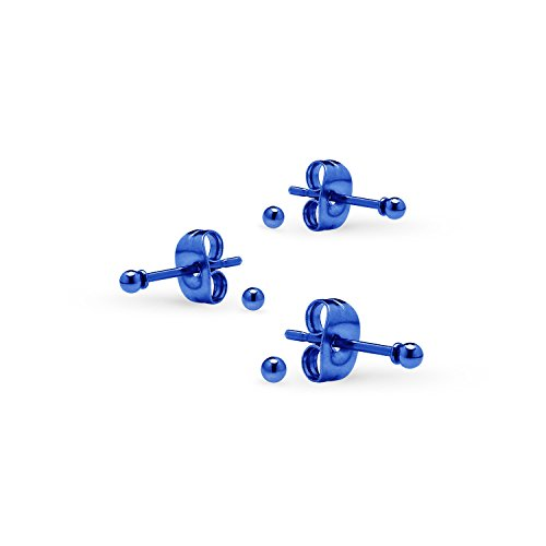 Silverline Jewelry 3 Pairs Tiny 2mm Stainless Steel Stud Earrings For Mens Womens CZ Round Ball Earrings Set Blue Tone