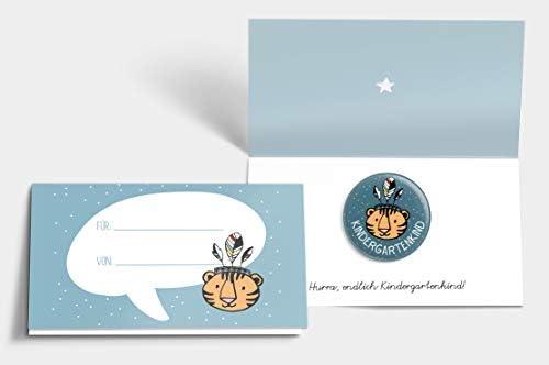 """Kita-TagNEU Button-Kindergartenkind /""""Tiger/"""" mit KarteGeschenk Junge 1"""