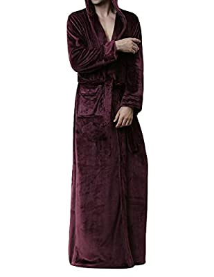 Earlish Men's Microfleece Flannel Robe Soft Warm Ultra Long Hooded Floor Length Bathrobes