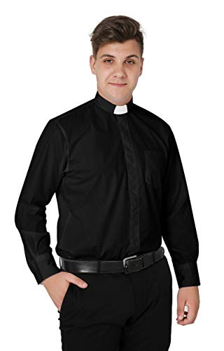 Priest Outfit - Ivyrobes Mens Tab-Collar Long Sleeves Clergy