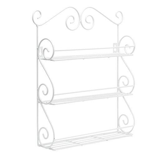 Dazone Wall-Mount 3-tiers Metal Scroll Spice Rack Organizer Kitchen Storage Shelf Rack (White)