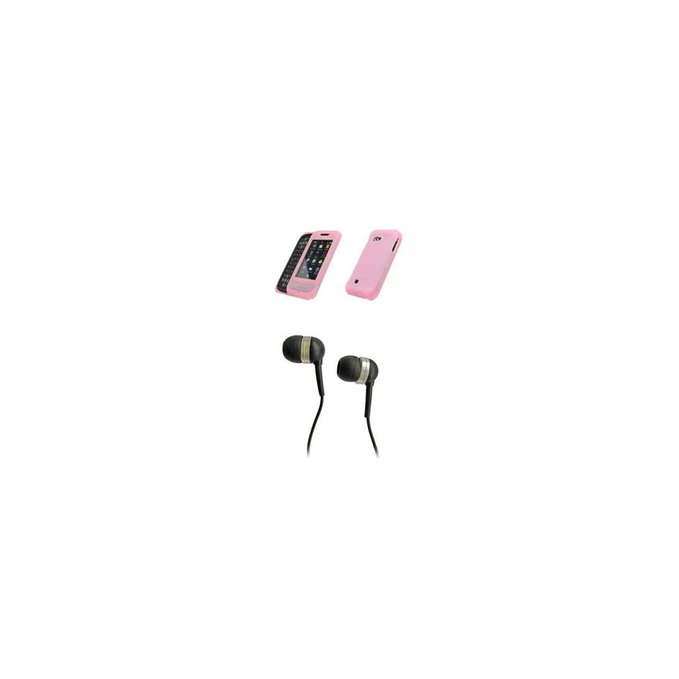 Samsung Reality U820 Premium Pink Silicone Skin Case Cover Cell Phone Protector + Black 3.5mm Stereo Hands free Headphones for Samsung Reality U820