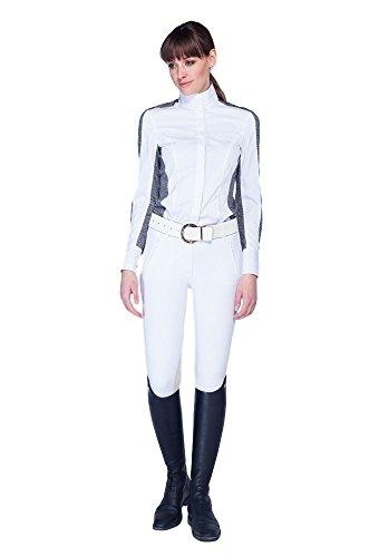 Noel Asmar Luxe Show Shirt White W/Heather Grey Large