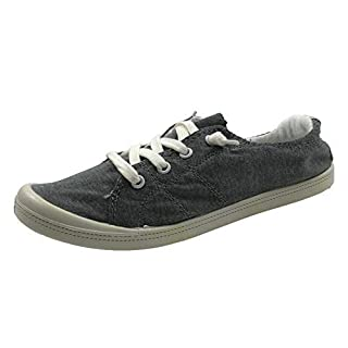 Forever Link Women's Classic Slip-On Comfort Fashion Sneaker, Charcoal Grey, 8.5