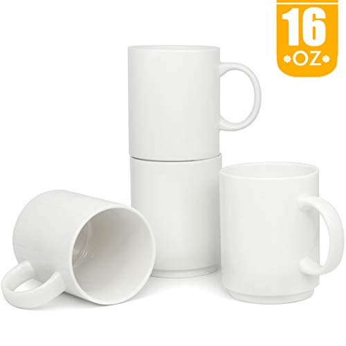 (16 OZ Stackable Porcelain Coffee Mugs, Smilatte M009 Blank Large Ceramic Cup with Handle for Tea Latte Cappuccino, Set of 4, White)