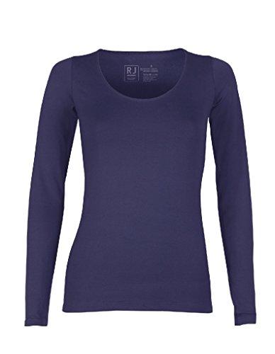 RJ Pure Color T-Shirt à Manches Longues - Bleu Foncé 33-009