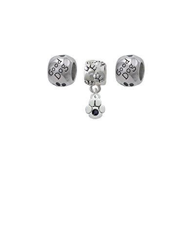 Mini Paw with Black Crystal Paw Print Charm Bead with Good Dog Beads (Set of 3)