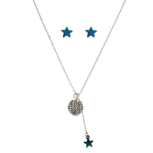 Betsey Johnson (GBG) Juego de collar con colgante de bola de fuego de cristal para mujer y aretes de estrella, cristal, talla única