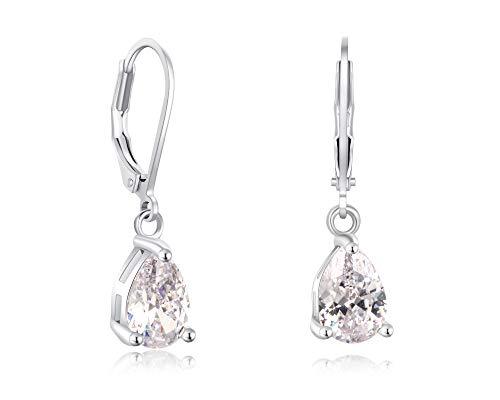 Buyless Fashion Girls And Women Teardrop Dangle Earrings With Leverback CZ Stone- EDGTRDWHT