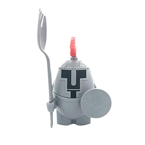 Promisen Soft or Hard Boiled Egg Cup Holder with a Fork Included- Knight Design - Kitchen Utensil Decor (Gray) by Promisen (Image #3)