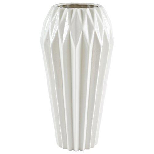 Rivet Modern Angled Stoneware Vase, 11.9″H, White