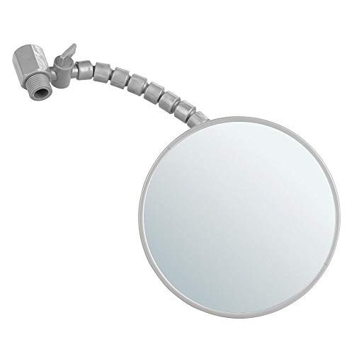 mDesign Deluxe Fog Free Bathroom Shower Adjustable Shaving Mirror with Flexible Arm - Rotates and Swivels - Shatterproof and Rustproof - Silver