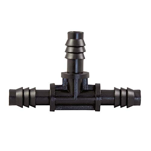 "xGarden 3/8"" Tee Barbed Connector Fitting for Hydroponics and Drip Tubing - 10 Units per Bag"