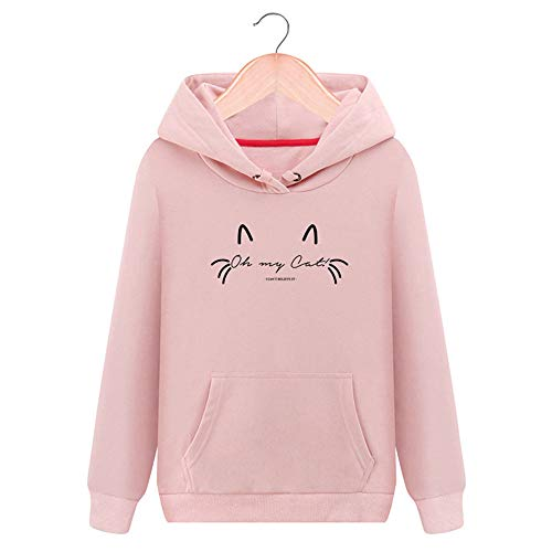 HULKAY Halloween Women Tops Sale Clearance Fashion Long Sleeve Round Neck Cat Printed Hooded Casual Shirt Blouse Sweater(Pink,XL)