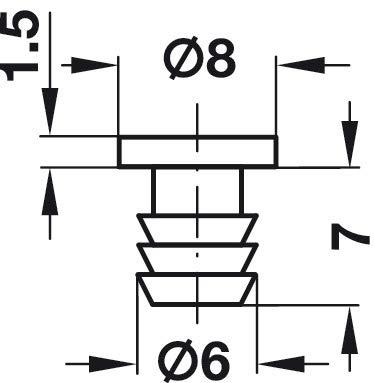 100 St/ück M/öbelbeschl/äge Kunststoff wei/ß T/ürd/ämpfer zum Eindr/ücken in /Ø 6 mm Bohrung Gedotec Anschlagpuffer T/ür-Puffer f/ür M/öbel /& Schubladen
