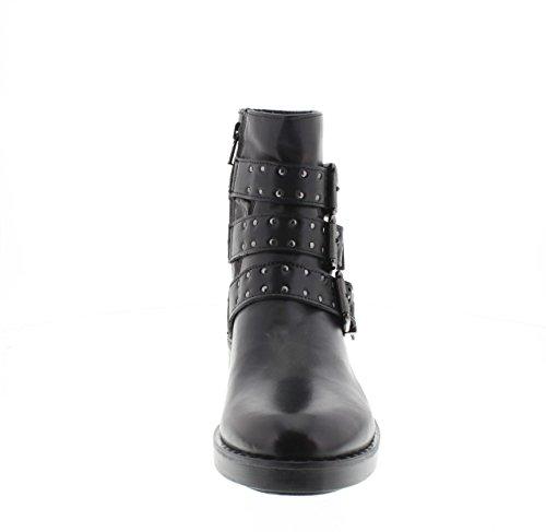 DEI COLLI Boots-Fabrik Leder 2MOSS206 Hills mit Schnallen und Nieten Nero