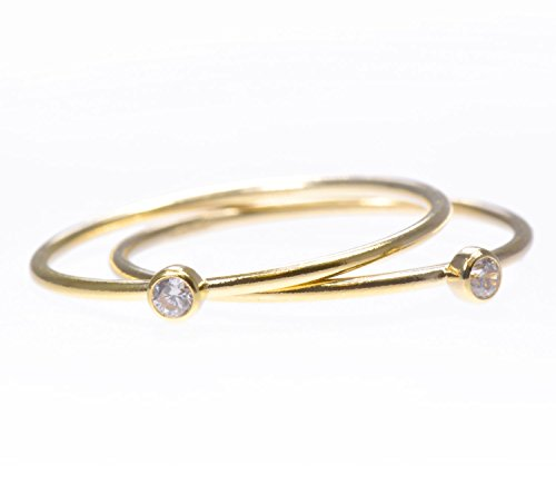 2 14K Gold Filled White CZ Stacking Rings Size 6 (Stacking Ring)