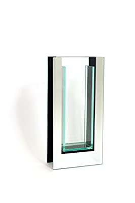 """Royal Imports 10.5"""" Tall Mirror and Glass Vase - 4.5X2X10.5 rectangle centerpiece container - high quality straight decorative mirror vase"""
