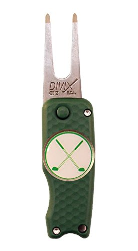 (DX Switchblade Divot Repair Tool Crossed Clubs Green | Made in USA)