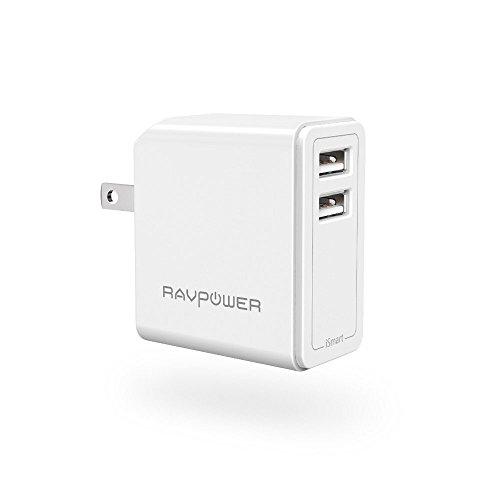 RAVPower Cargador USB Portátil 24W, Cargador de Red Doble Puertos USB Tecnología iSmart para iPhone X, 8, 8 Plus, Samsung...