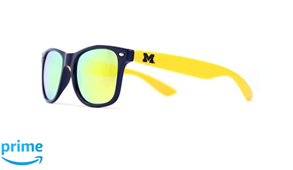 NCAA Michigan Wolverines  MICH-5 White Frame Gold Lens Sunglasses White One Size