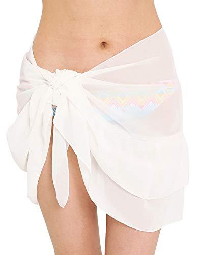 CHIC DIARY Womens Mini Sarong Swimwear Bikini Cover up Beach Pareo Wrap Swimwear Short (Pure White) ()