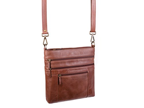 Dwellbee Crossbody Purse (Buffalo Leather, Brown) by Dwellbee