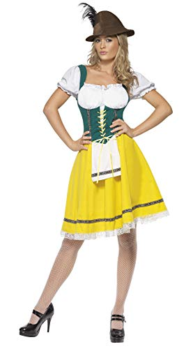 Smiffy's Women's Oktoberfest Costume Female Dress with Attached Apron, Yellow M - US Size -