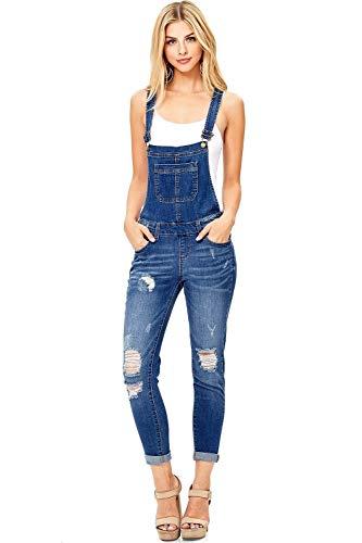 wax jean Women's Junior Ankle Length Skinny Leg Distressed Dark Denim Overalls (Medium, Dark Wash) (Denim Skinny Overalls)