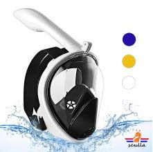Sculla Exclusive Adult Full face Snorkeling mask - 180 Degree View, Plus Camera Extension for Astonishing Underwater Video (White) and Cell Phone Pouch - All Included