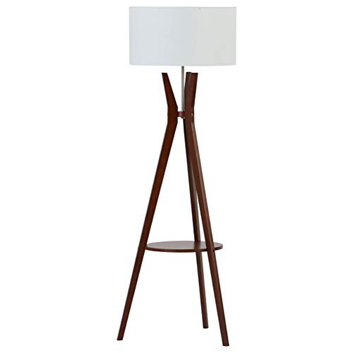 (Rivet Zoey Mid Century Modern Tripod Living Room Floor Lamp With Light Bulb and Table - 18.5 x 18.5 x 58 Inches, Walnut)