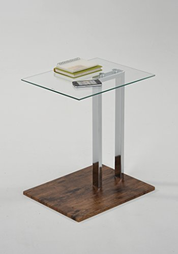 Tempered Glass Top / Dark Oak Base Chrome Modern Side End (Modern Oak End Table)