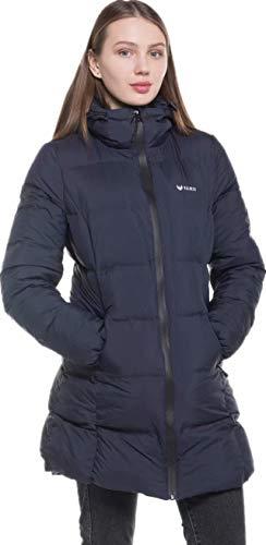 valuker Women's Seamless Hooded Down Coat Jacket Puffer Parka Jacket Navy-11-L