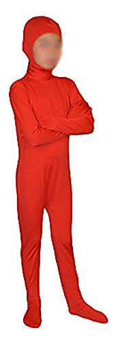 Seeksmile Kids Costume Full Body Lycra Zentai Suit Face Open (Kids Large, Red)