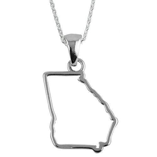 .925 Sterling Silver Georgia State Necklace, State of Georgia Jewelry (U-ga Gifts)