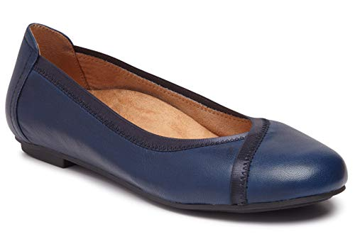 Vionic Women's Spark Caroll Ballet Flat - Ladies Dress Casual Shoes with Concealed Orthotic Arch Support Navy 9 W US