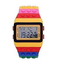 Comercializadora AJR Reloj Dijital Aprueba de Agua, Reloj de Bloques Estilo Niños Reloj Digital Unisex Bloque con múltiples funciones para niño o adulto.