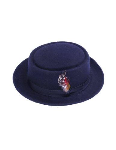 - New Mens 100% Wool Navy Blue Porkpie (Pork Pie) Hat