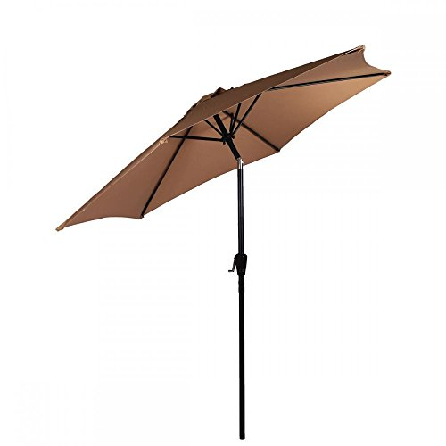 Umbrella Patio Offset 8FT Aluminum Outdoor New Market Crank Tan (Toronto Outdoor Christmas Lights Installation)