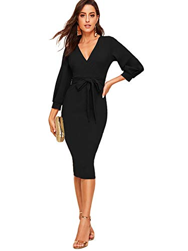 Verdusa Women's Surplice Wrap Bishop Sleeve Belted Bodycon Pencil Dress Black M