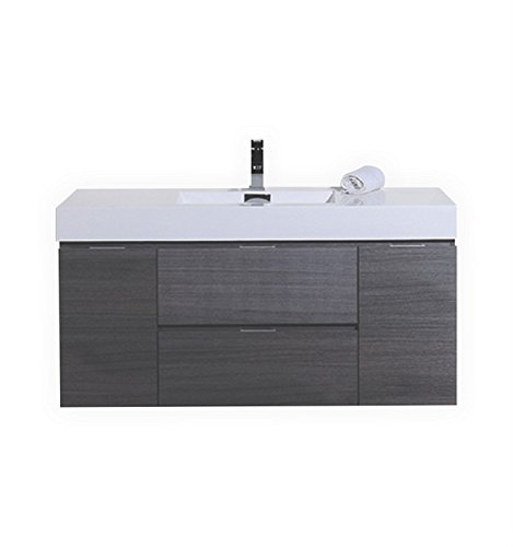 Bathroom Vanity Unit Oak (Kube Bath Bliss 48? Gray Oak Wall Mount Single Sink Modern Bathroom Vanity)